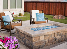 Paver Patio With Stone Facing Rectangular Fire Pit