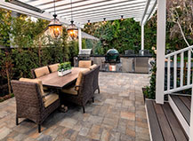 Uncovered Dual Grill Bbq Island And Paving Stone Dining Patio