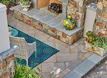 Traditional Angled Patio Pavers With Border