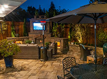 Paver Patio With Full Entertainment Center And Paver Fireplace