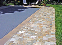Brown Stone Pool Pavers With Border