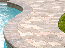 Mixed Light Stone Pool Pavers With Border