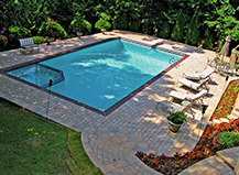 Mixed Multi Color Pool Pavers With Dark Border
