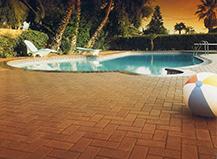 Angled Dark Brown Pool Pavers