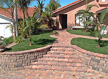 Light Red Front Yard Walkway Pavers With Steps
