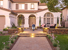 Paved Walkway Transformation With Water Feature Design And Seating
