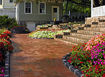 Brick Walkway Leading To Custom Paver Step Ideas