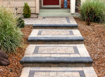 Paver Step Entryway With Bevel Edge And Border Design