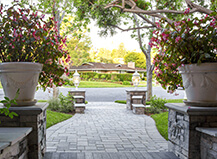 Front Yard Paver Walkway With Pillars