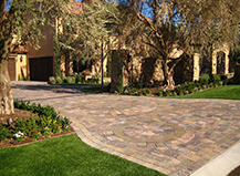Residential Turf With Driveway Pavers