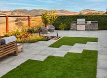Modern Backyard With Turf And Pavers Design
