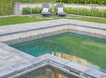 Pool Deck Pavers With Artificial Turf Lawn
