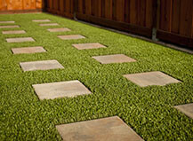 Artificial Turf With Paving Stone Steps