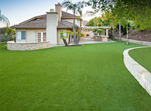Backyard Turf With Landscape Retaining Wall